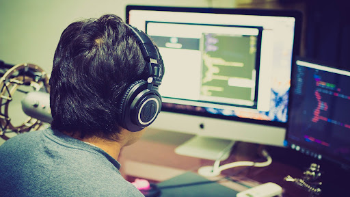 A coder busy at work