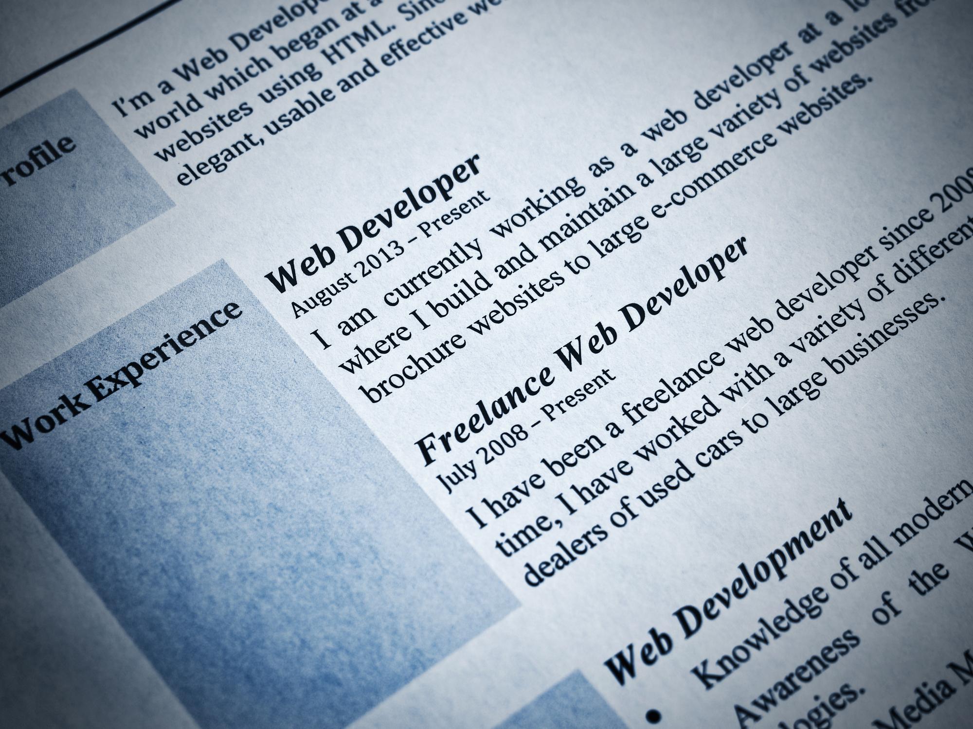 Resume Example for Web Developer
