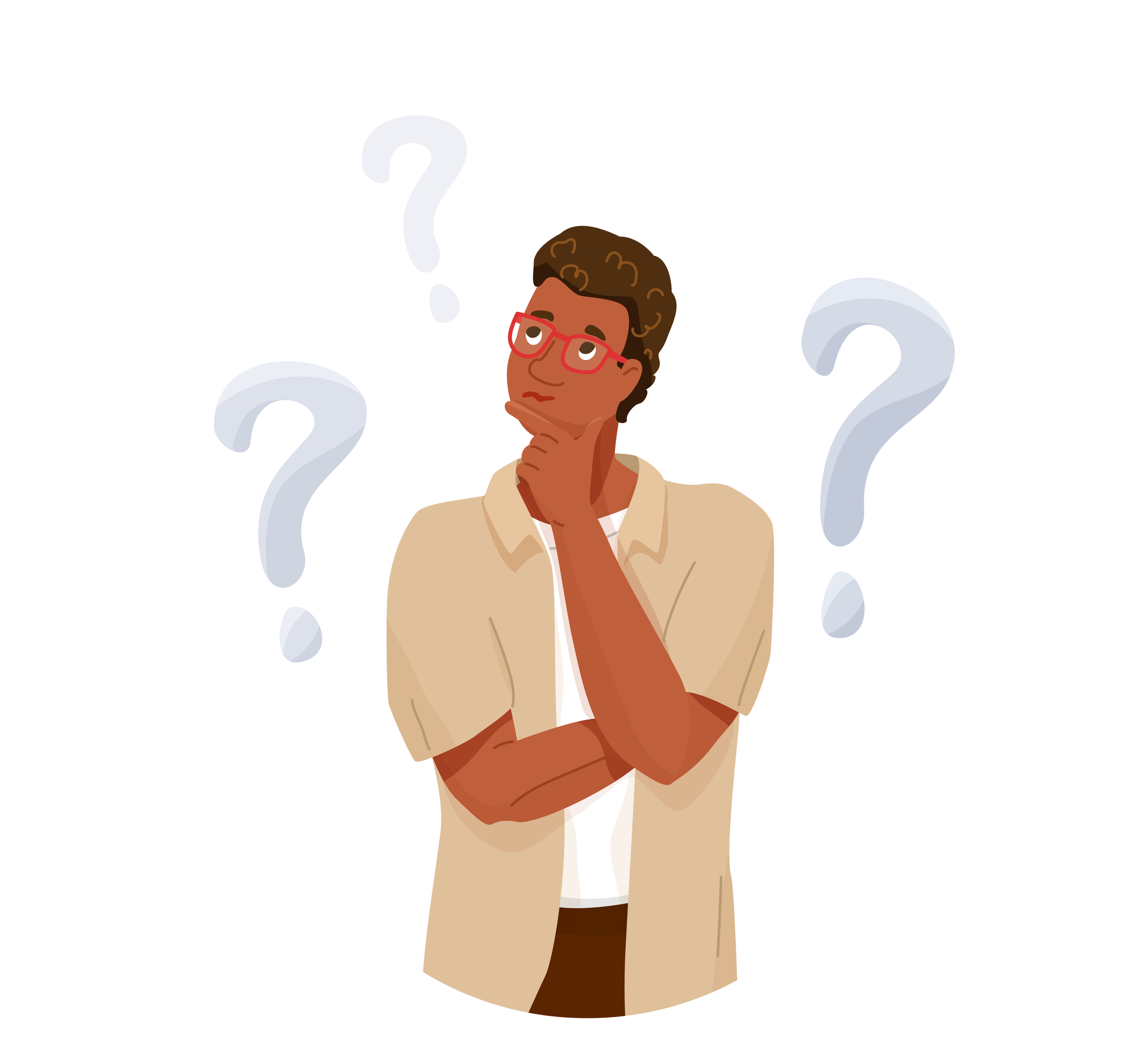 illustration of a Guy Thinking with questions marks surrounding him Self Taught Coder