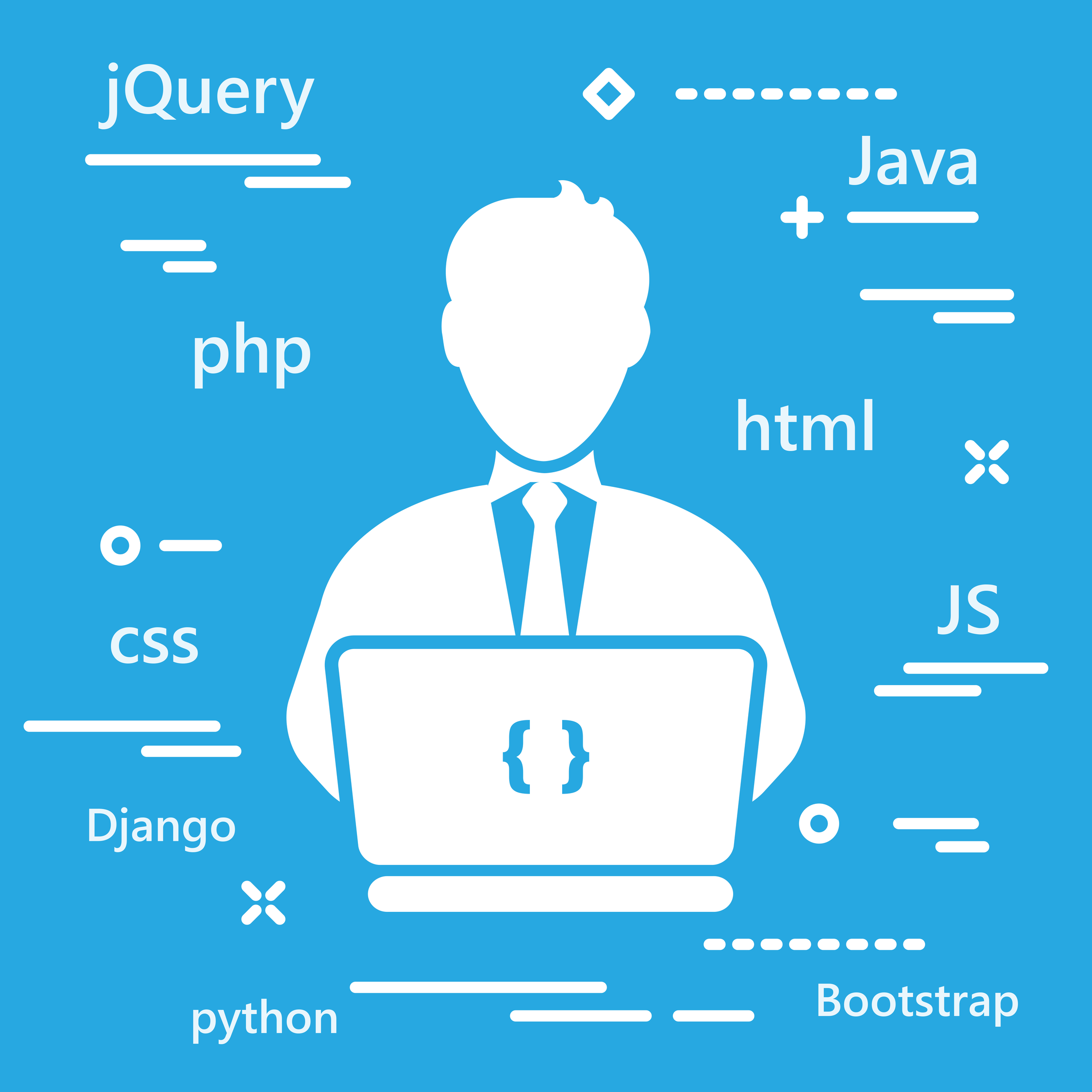 Illustration of guy on laptop with coding languages surrounding him Tech Job Interview