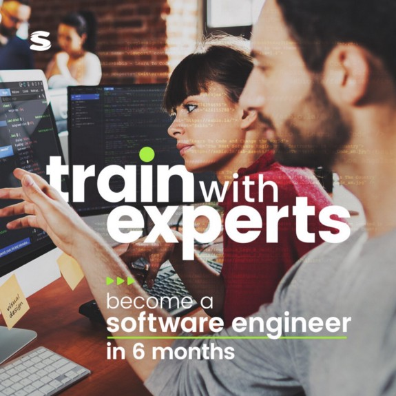 Train With Experts Graphic Image white text and green accent's with people coding in background Army Vet To Software Developer