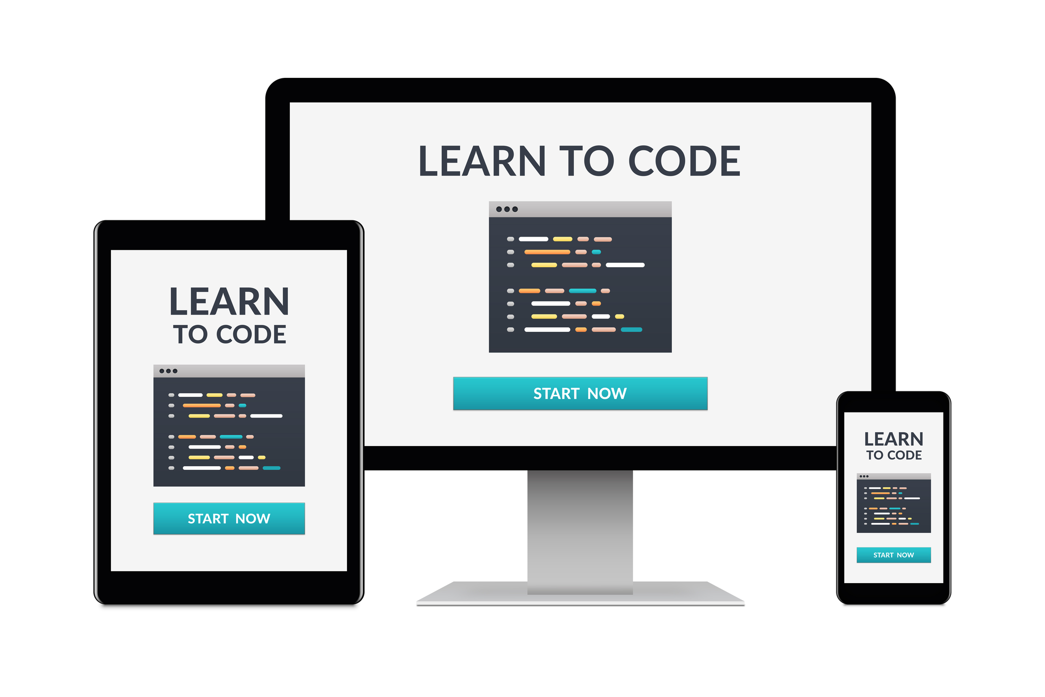 Tablet Computer screen and phone screen with code and the words learn to code written on them Software Engineer Career