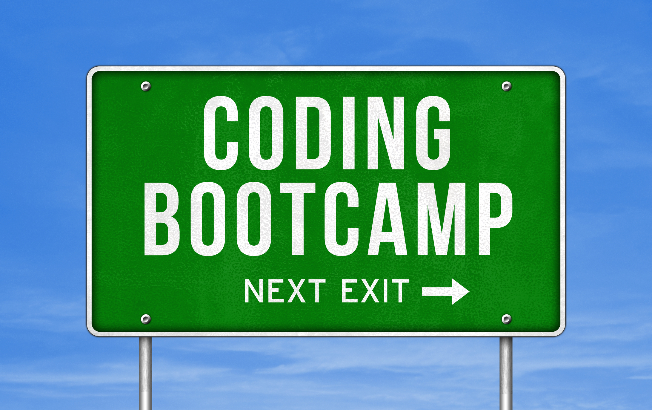 Freeway Exit Sign that says Coding Bootcamp Next Exit with Blue sky behind it Career Switch