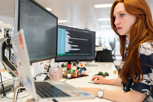 A software engineer working on code.