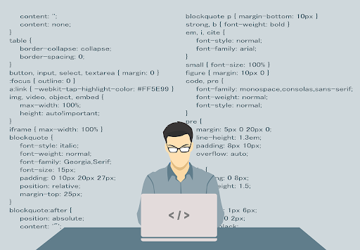 A person working on code