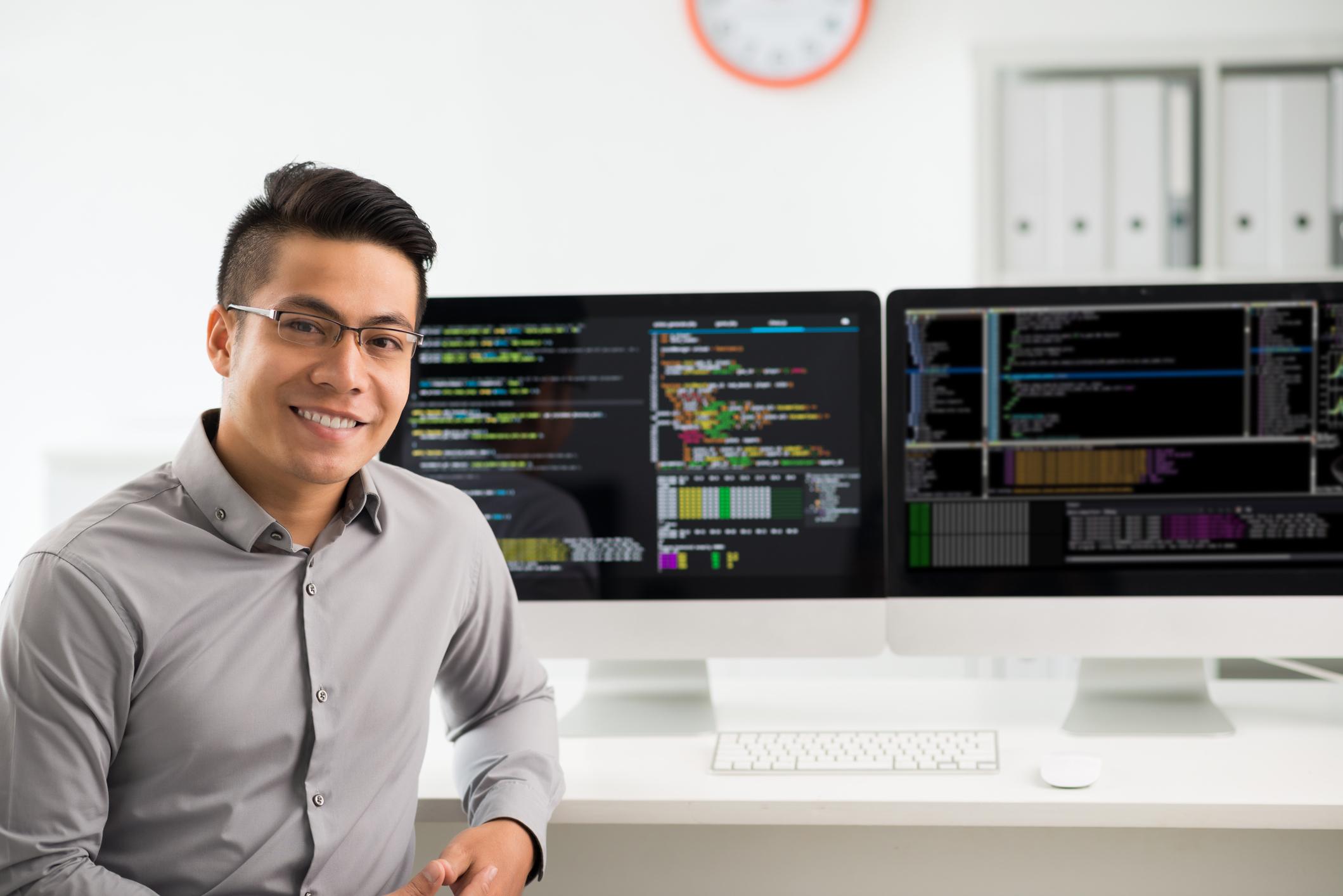 Happy Full Stack Developer Full-Stack Web Developer