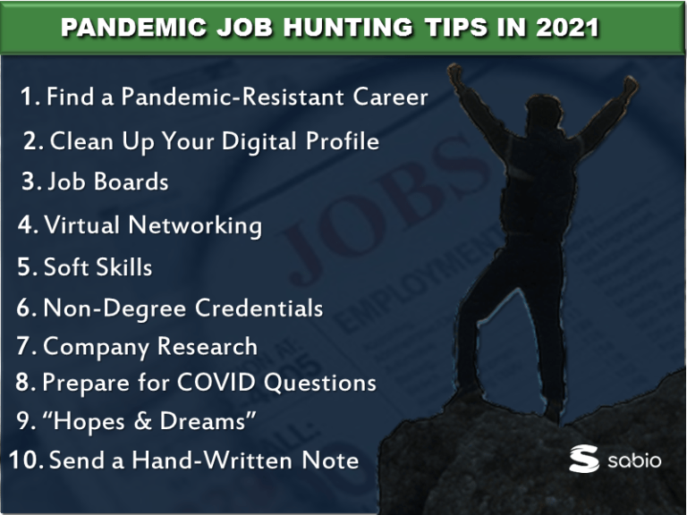 InfoGraphic with silhouette of person on rock raising arms with blue background green header and white text. bullet points for pandemic job hunting tips in 2021